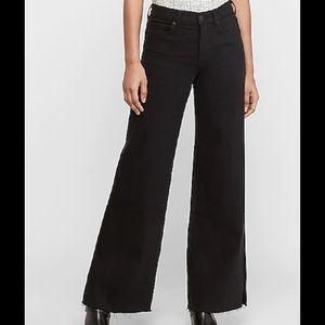 NWT EXPRESS high waisted black wide leg jeans